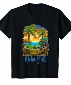 Aloha Yall Tiki Beach T-Shirt Hawaii Vacation Group Shirt