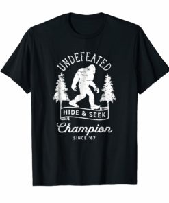 Bigfoot Undefeated Hide and Seek Champion Distressed T-Shirt