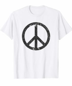 Distressed Black Peace Sign T-shirt