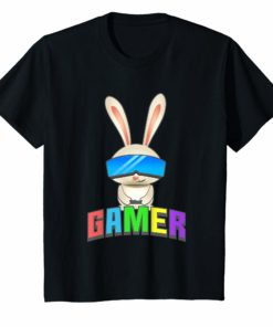 Easter Bunny Gamer Shirt for Kids Graphic Gift Gaming Boys
