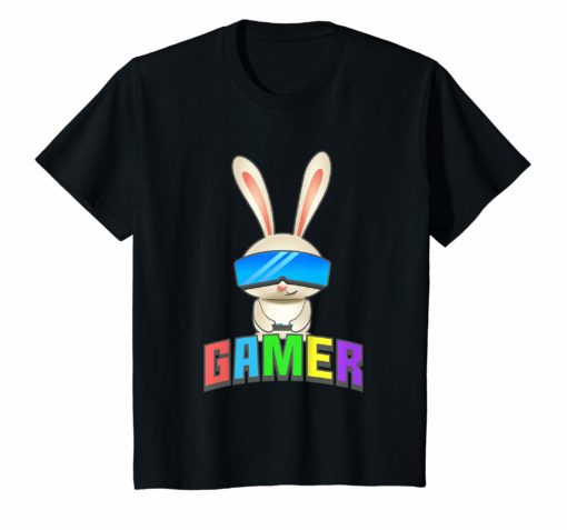 Easter Bunny Gamer Shirt for Kids Graphic Gift Gaming Boys