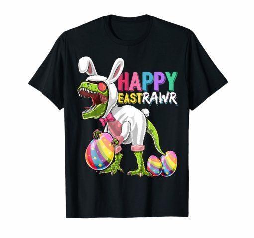 Happy Eastrawr T Rex Dinosaur Easter Bunny Egg Shirt Kids
