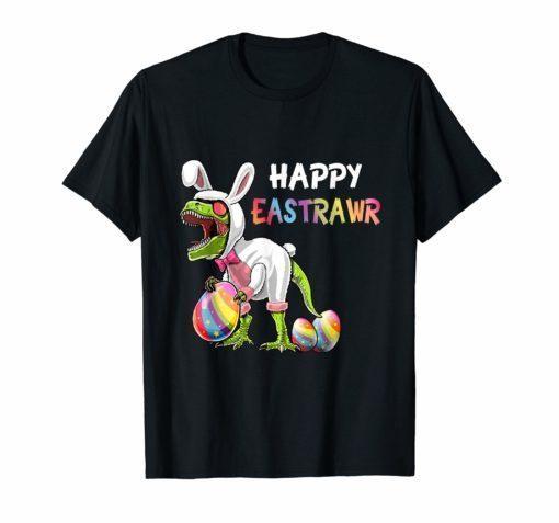 Happy Eastrawr T-Rex Dinosaur Easter Bunny Egg T Shirt Kids
