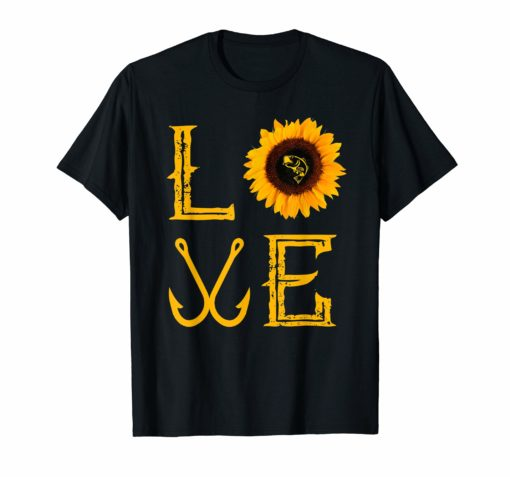 I love fishing and sunflower Shirt funny fisherman Gift