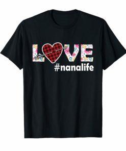 Love Nana Life Nanalife Floral and Plaid color shirt