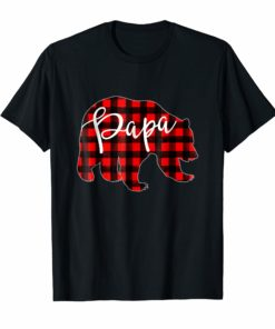 Mens Red Plaid Papa Bear Shirt Matching Pajama Family Buffalo Dad