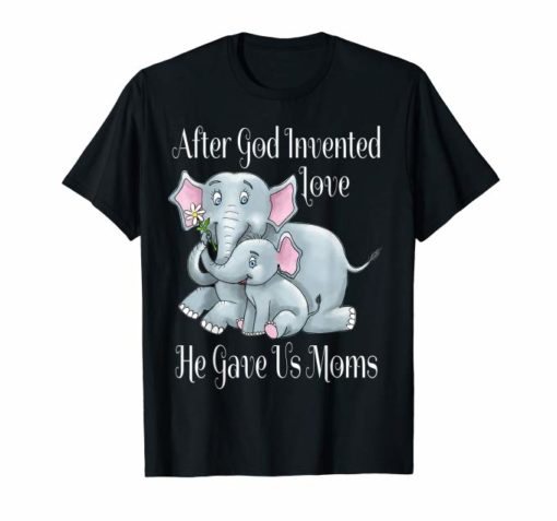 Mothers Day Elephant T Shirt hand drawn for women and kids