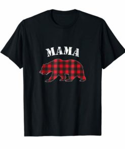 Red Plaid Mama Bear Buffalo Matching Family Pajama Shirt