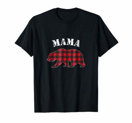 Red Plaid Mama Bear Buffalo Matching Family Pajama Shirt