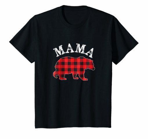 Red Plaid Mama Bear Matching Buffalo Family Pajama T-Shirt