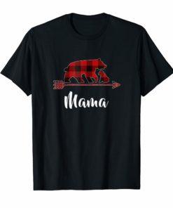 Red Plaid Mama Bear Matching Buffalo Pajama T-Shirt