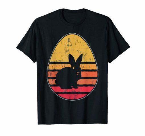 Retro Vintage Bunny Egg Happy Easter T-Shirt Gift Men Women