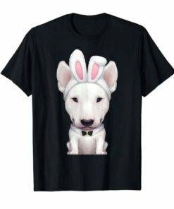 White English Bull Terrier in Easter Bunny Costume T-Shirt