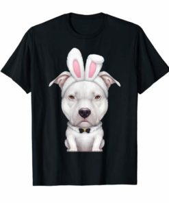 White Pit Bull Terrier in the Easter Bunny Costume T-Shirt