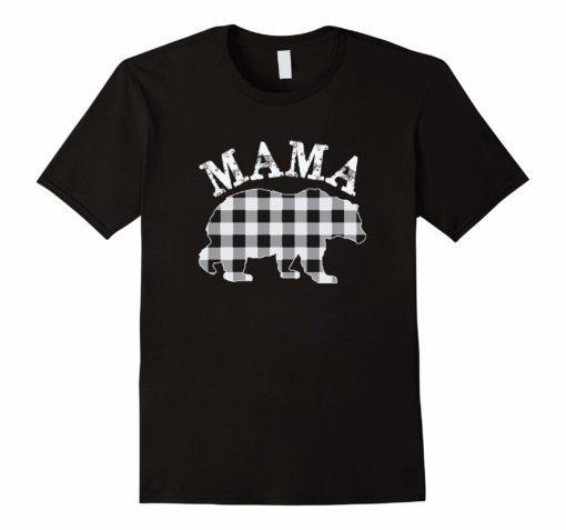 White Plaid Mama Bear Buffalo Matching Family Pajama T-Shirt