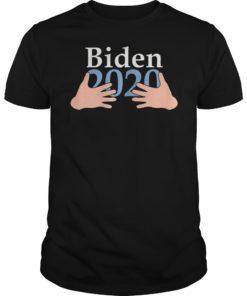 Womens Hands Hug Boobs Joe Biden 2020 Funny Shirt Women