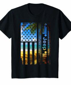 Womens Jeep American Flag Summer Beach Jeep Drivers Shirt