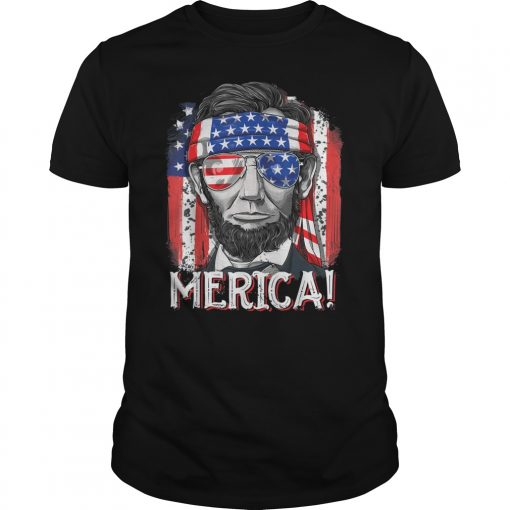 4th of July Shirts for Men Merica Abe Lincoln Women Tee Shirt