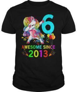 6 Years Old 6th Birthday Unicorn Dabbing T-Shirt