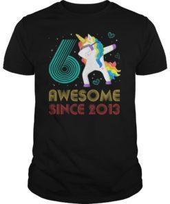 6 Years Old 6th Birthday Unicorn Dabbing TShirt