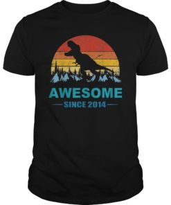 Awesome Since 2014 Shirt 5 Years Old Dinosaur Gift