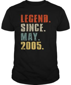 Legend Since May 2005 14th Birthday 14 Years Old Gift Shirt
