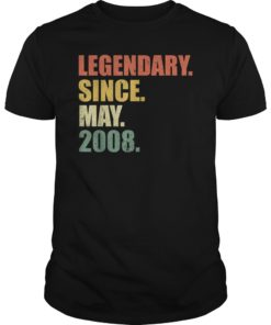 Vintage Legendary Since May 2008 11th Birthday T-Shirt