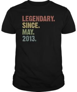 Vintage Legendary Since May 2013 6th Birthday T-Shirt
