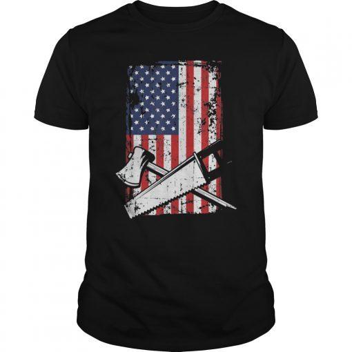 4th July American Flag Woodworking Lumberjack Carpenter Gift T-Shirt