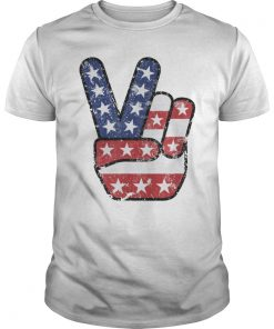 4th of July American Flag Peace Sign Hand US Vintage T-Shirt