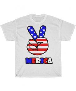 4th of July American Flag Peace Sign Hand US Vintage Unisex Tee Shirts