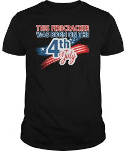4th of July Birthday American Flag USA Born on the Fourth T-Shirt