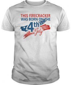 4th of July Birthday American Flag USA Born on the Fourth TShirt