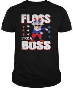 4th of July Floss Like a Boss Shirt Kids Boys Girl Uncle Sam T-Shirt