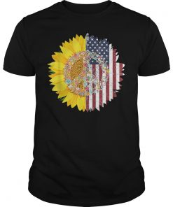 4th of July Gift Sunflower American Flag Peace Sign T-shirt