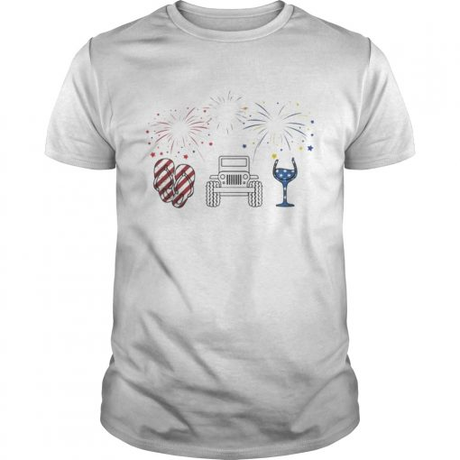 4th of July Flip Flops Jeep and Wine Firework T-Shirt