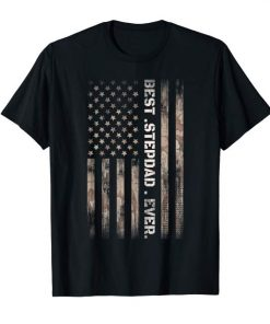 Best STEP DAD Ever Vintage American Flag Camo Father Day T-Shirt