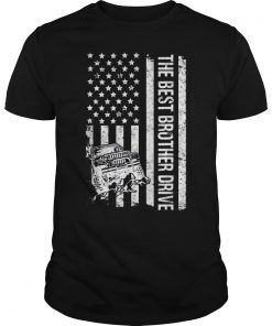 The Best Brother Drive Jeeps American Flag Father's Day Jeeps T-Shirt