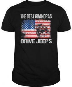 The Best Grandpas Drive Jeeps American Flag T-Shirt