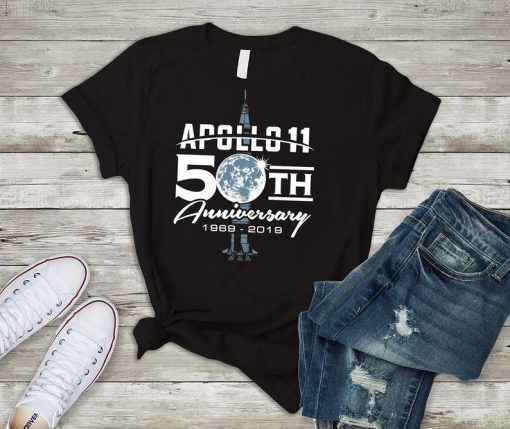 50th Anniversary Apollo 11 Moon Landing 1969 Shirt for NASA fans, Featuring Saturn V Rocket, Gift for Space Explorer