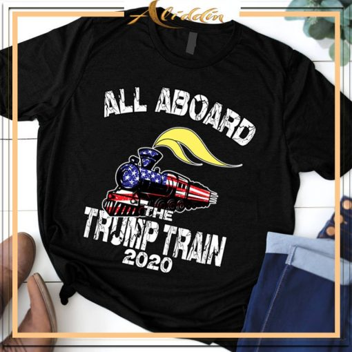 All Aboard the Trump Train 2020 American Flag Unisex T-Shirt