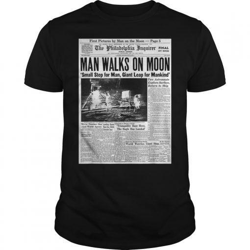 Apollo 11 50th Anniversary Shirt Moon Landing 1969 Newspaper