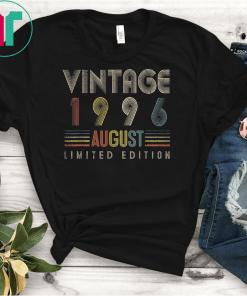 Vintage August Born in 1996 TShirt 23 Yrs Old Birthday Shirts