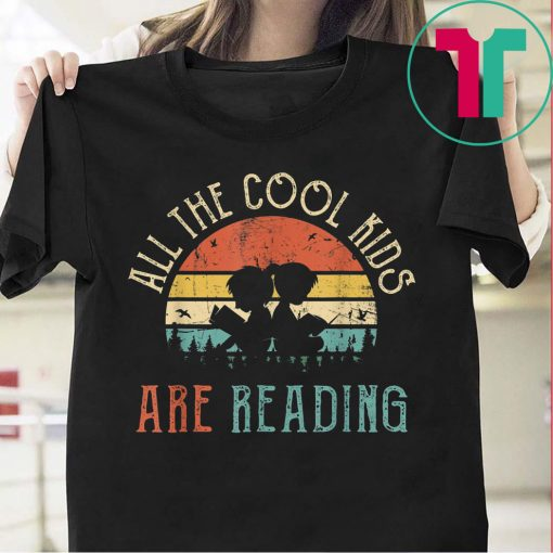 Vintage All The Cool Kids Are Reading Book Reto Sunset Shirt