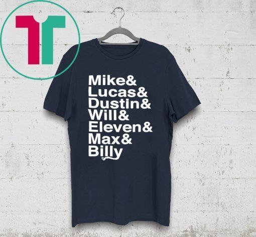 Stranger Things Name List T-Shirt for Mens Womens Kids