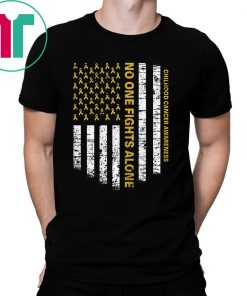 No One Fights Alone USA Flag Childhood Cancer Awareness T-Shirt