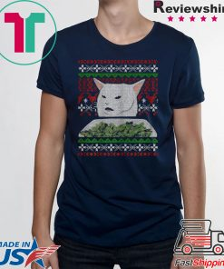 Yelling At A Cat Dinner Table Meme-Best Ugly Christmas Dress Tee Shirts