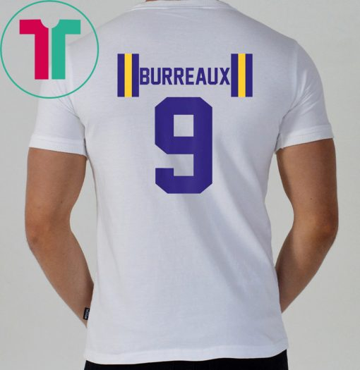 JOE BURREAUX NUMBER 9 BACK PRINT T-Shirt Louisiana Fans