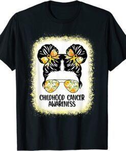 Official Childhood Cancer Awareness Messy Bun Gold Ribbon Kids T-Shirt